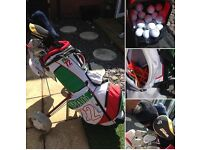 Dunlop Golf Caddy, Clubs, Glove and Extras