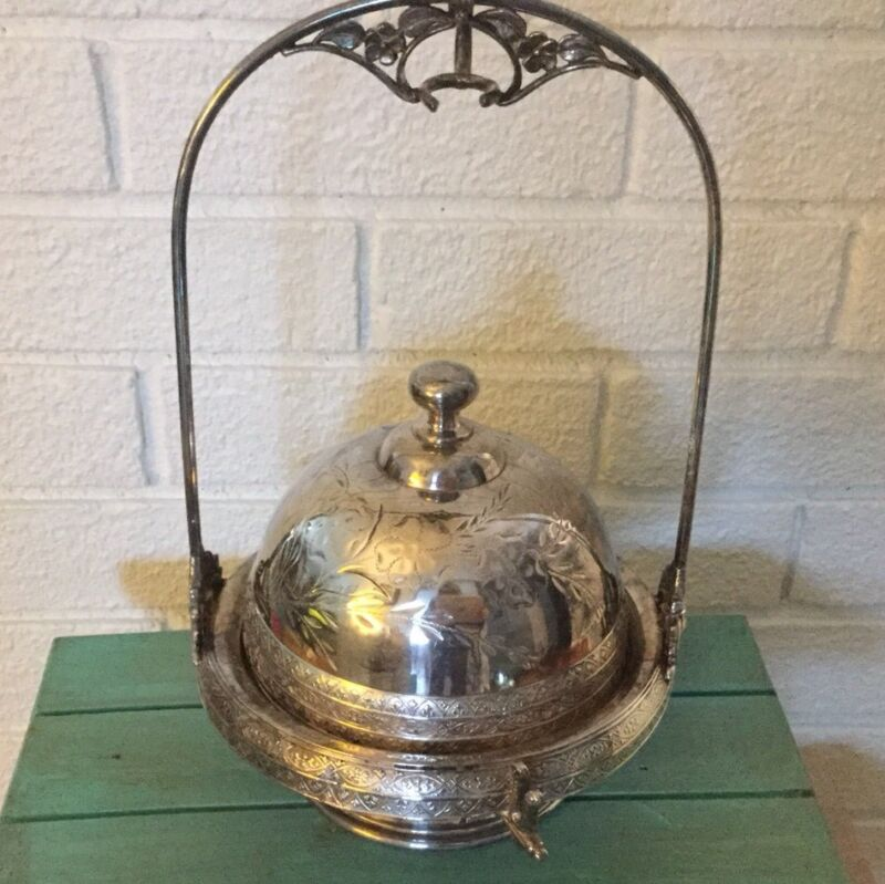 Antique Aurora  Etched Silver plate Covered Butter  Dish Stand