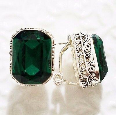 Emerald Vintage Carved Antique Green Radiant Cut Earrings White Gold Plated E43