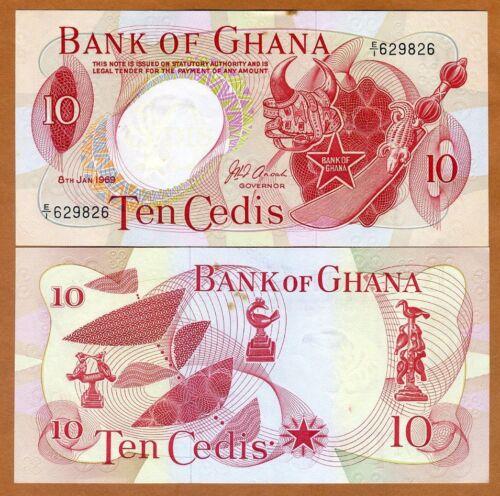 Ghana, 10 Cedis, 1969, P-12 (12b), Ch. UNC > scarce, with tone