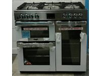 h753 stainless belling 90cm dual fuel cooker comes with warranty can be delivered or collected