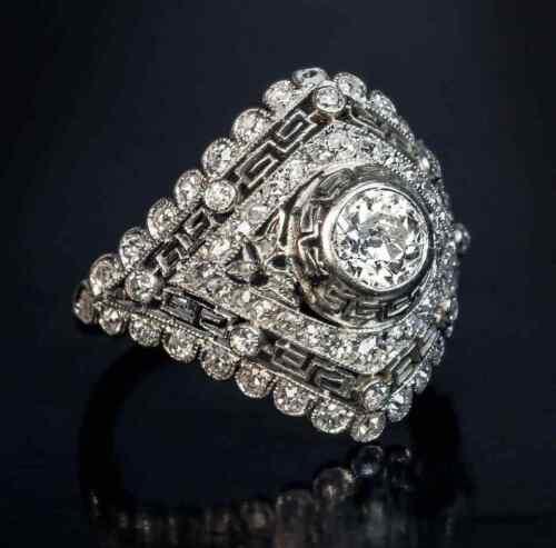 Fabulous Greek Key Motif Bezel Set Old European Cut Cubic Zirconia Vintage Ring
