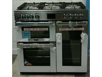 e753 stainless belling 90cm dual fuel cooker comes with warranty can be delivered or collected
