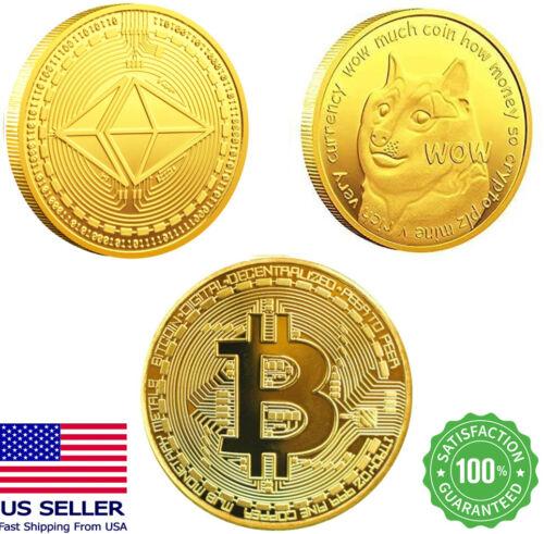 3Pcs Dogecoin bitcoin Ethereum ETH Coins Gold Commemorative Physical Crypto Coin