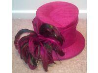 Jacques Vert: two piece jacket & skirt PLUS matching hat - fuchsia colour