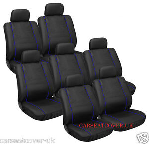 ford galaxy 00 06 black blue top quality velour car seat covers 7 seater ebay. Black Bedroom Furniture Sets. Home Design Ideas