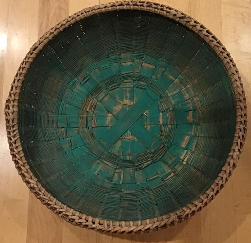 Antique Maine Splint Ash & Sweet Grass Large Shallow Bowl Basket w/ Green Dye