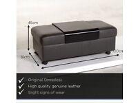 Stressless black paloma leather footstool
