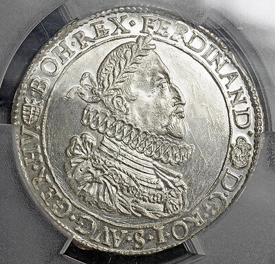Click now to see the BUY IT NOW Price! 1636 HUNGARY EMPEROR FERDINAND II. SILVER THALER COIN. BRIGHT GEM PCGS MS63