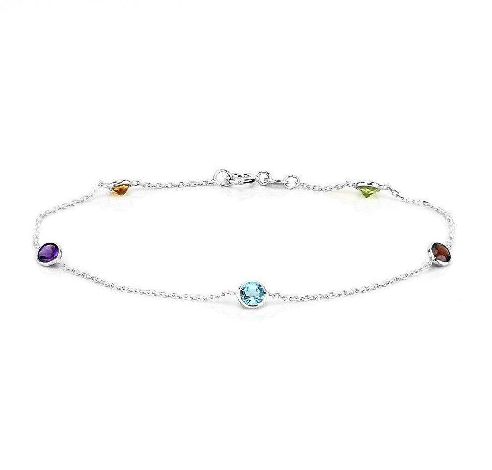 14K White Gold Anklet Bracelet With Round White Topaz Gemstones 10.5 Inches