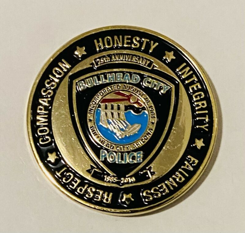 Sought After-Unique-Bullhead City Arizona Police-Police Challenge Coin