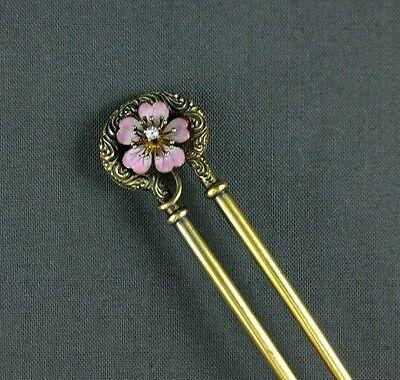 Antique Victorian 18K Gold Hair Comb Pin Ornament Enamel Flower Diamond