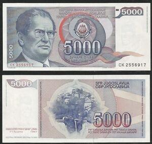 YUGOSLAVIA-5000-Dinara-1985-Pick-93-UNC