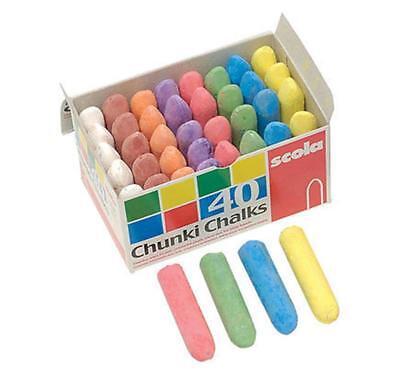 Scola AS29 Chunki Chalks Assorted - Box of 40