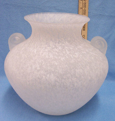 "ELEGANT SPOTTED SPECKLED FROSTED GLASS VASE 9 1/2"" TALL"
