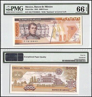 Mexico 5,000 - 5000 Pesos, 1985, P-88a, PMG 66