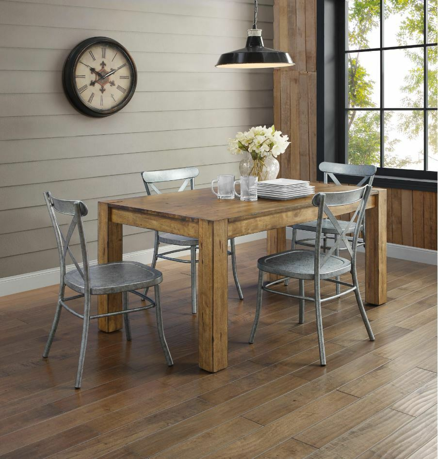 Rustic Wood Farmhouse Dining Table Industrial Silver Metal C