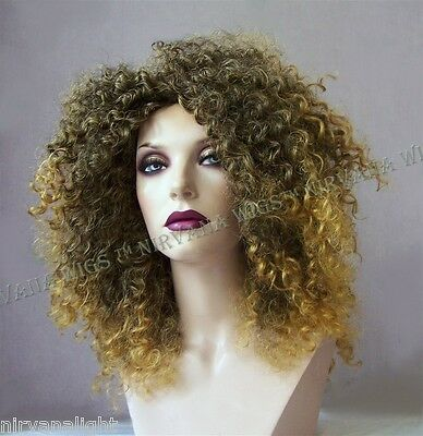 SALE  2Tone Brown with Ginger Tips Afro Spiral Curls Fizz  - Ginger Afro Wig