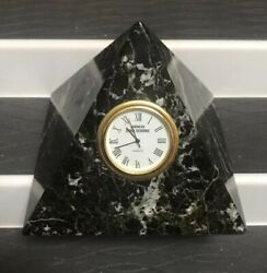 GENUINE MARVLE ONYX AMERICAN STOCK EXCHANGE CUT OUT SILCON ELECTRONICS CLOCK 4""