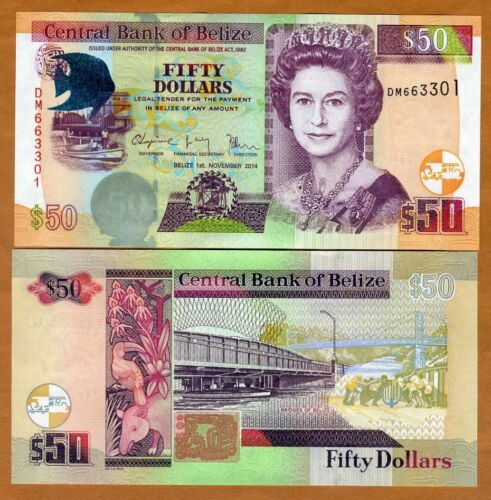 Belize, 50 Dollars, 2014, QEII, P-70e, New Date and Signature, UNC