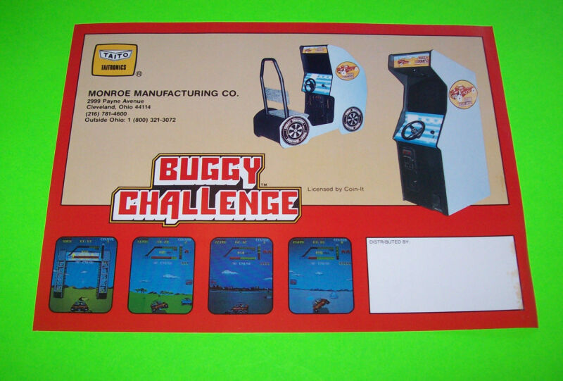 BUGGY CHALLENGE By TAITO 1986 ORIGINAL VIDEO ARCADE GAME PROMO SALES FLYER