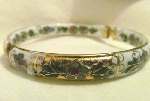 Vintage Chinese Cloisonne Champleve PUFFY ENAMEL GOLD BANGLE BRACELET
