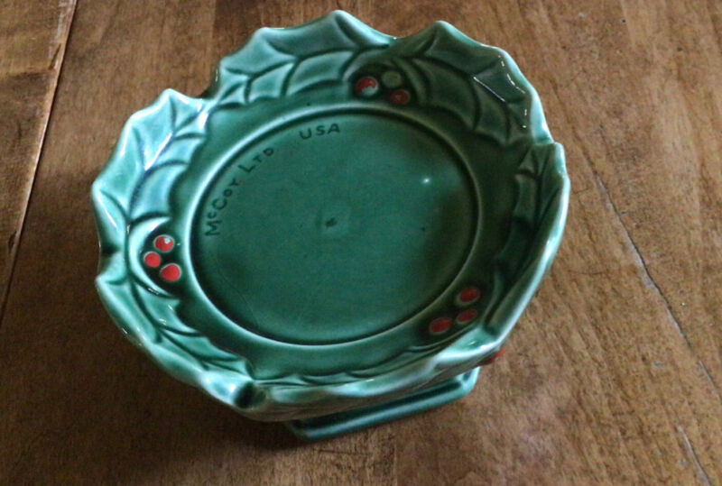 McCoy Green Holly Christmas Ceramic Candle Holder