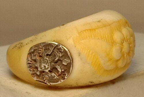 Rare Bone Ring Silver 84 Flower Russian Imperial Crown