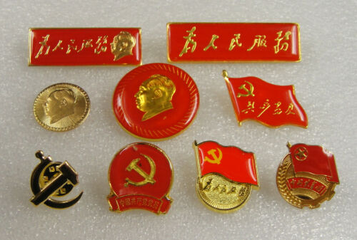 9 Pins for Mao, Chinathe Communist Party / the Communist Youth League Emblem