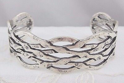 Weave Design Cuff Bracelet Silver Fashion Jewelry New