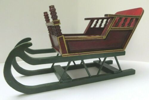 Wooden Christmas Sleigh Red and Green 13 in. x 6.5 in. x 5 in.W for Centerpiece