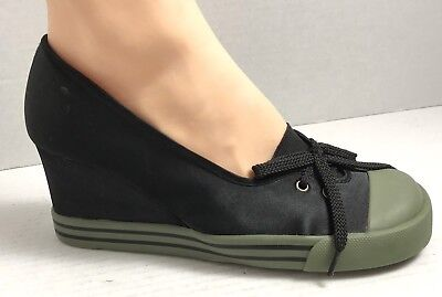 Chinese Laundry Wash Wedges Size Olive Green Black Satin Cap Toe Lace Up Chinese Laundry Satin Heels