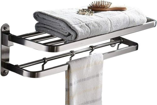 ELLO&ALLO for Bathroom Shelf Double Towel Bar Holder with Hooks Wall Mounted Mul