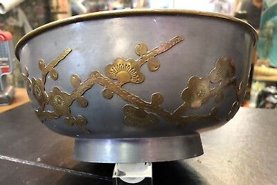 ANTIQUE LARGE CHINESE PEWTER AND FLORAL BRASS OVERLAY BOWL HEAVY