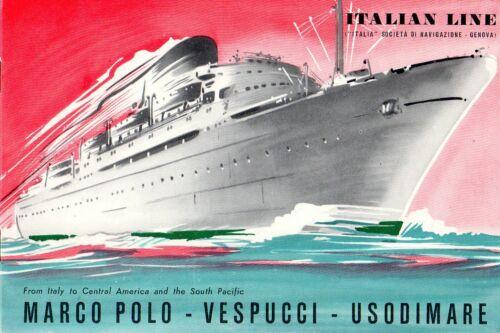 1953 Italian Line MARCO POLO, VESPUCCI & USODIMARE Deluxe Interiors Brochure