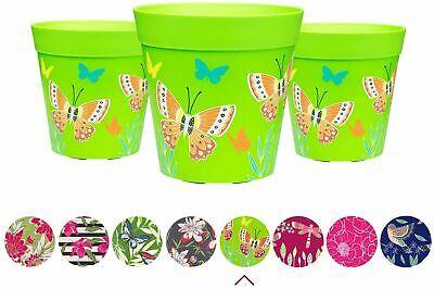 Hum Flowerpots Plant Pot Plastic - Set of Three Colourful Pots - 15cm x 15cm