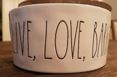 Rae Dunn NEW LIVE, LOVE, BARK! White Ceramic Dog Pet Water Food Bowl Gift Cute