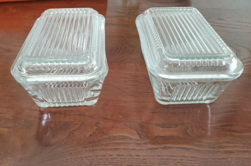 Vintage two Refrigerator Dishes With Lid Clear Ribbed Pasabahce Butter Dishes