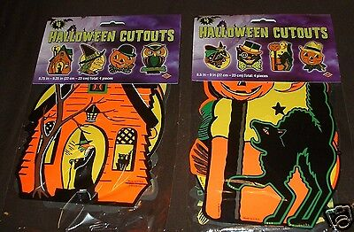 (8) 9 INCHES Retro HALLOWEEN Decorations Cutouts Vintage Style BEISTLE PACKAGED