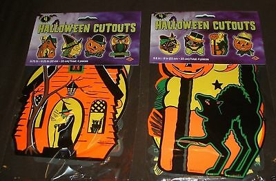 8 Vintage PACKAGED RETRO Styled BEISTLE Repro HALLOWEEN DECORATIONS Die-cut outs - Halloween Decor Wholesale