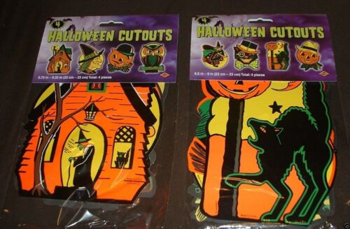 8 PACKAGED VNTG RETRO Styled BEISTLE Repro HALLOWEEN DECORATIONS Die-cut Cutouts