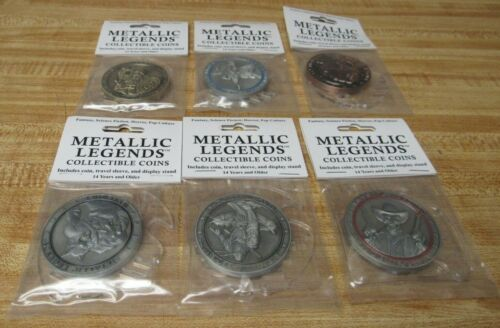 Set Of 6 Metallic Legends Collectible Coins - New And Sealed - With Stands
