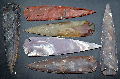 """*** 7"""" flint Spearhead arrowhead OH collection project points knife blade ***"""