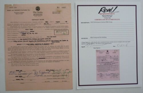 Otis Redding Billy Young Signed 1965 Contract Autograph Real Coa Psa Guaranteed