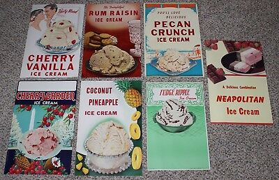 Lot of 7 Vintage Original Ice Cream Parlor Flavor Old Diner Posters Neapolitan