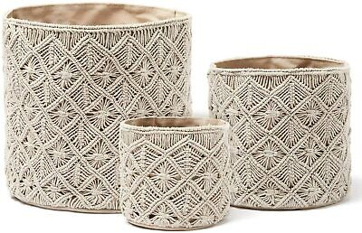 3pc Storage Baskets Woven Decorative Pantry Kitchen Cotton Grey Baskets
