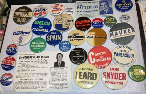 Lot of Pin Back Buttons & Cards of Candidates for Elections From Missouri