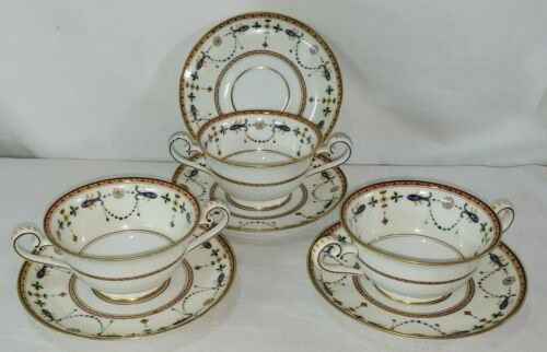 Rare Richard GINORI BRINDISI Double Handle Tea Cup (3) & Saucers (4) Lot