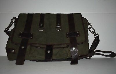 Canvas Laptop Sleeve (Will Leather Goods Leather Canvas Messenger Bag w/Laptop Sleeve Olive/Brown Trim)