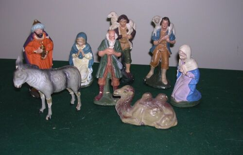 #Z VINTAGE GERMANY ANTIQUE XMAS NATIVITY FIGURES COMPOSITION ~8 PC LOT